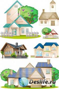 Дома и коттеджи (подборка векторных отрисовок)