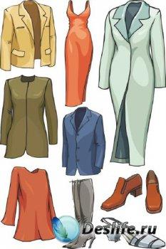 Вещи в векторе (женская и мужская одежда, обувь)