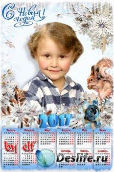 Новогодний календарь на 2017 год с рамкой для фото - Хоровод снежинок хрупк ...