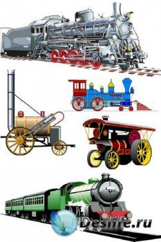 Железнодорожный транспорт: ретро паровоз (подборка векторных отрисовок)