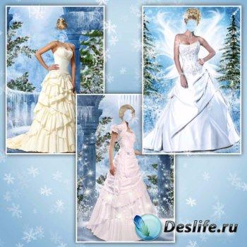 Женские костюмы для фотошопа – Бальные платья на зимнем фоне