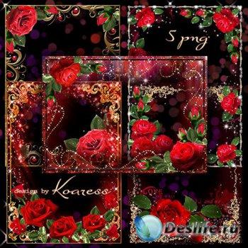 Романтические рамки для фото с красными розами в png к Дню Святого Валентин ...