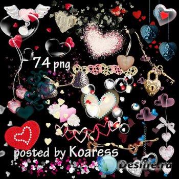 Клипарт png на прозрачном фоне - Сердечки и элементы для дизайна с сердечка ...