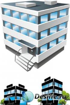 Архитектура: офисные здания (подборка векторных отрисовок)