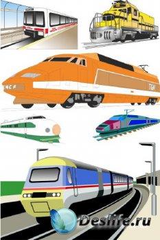 Железнодорожный транспорт: поезда и метро (подборка векторных отрисовок)