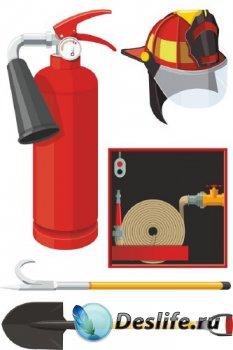 Принадлежности пожарных (подборка векторных отрисовок)