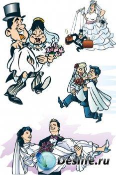Свадьба: жених, невеста, свадебные принадлежности (подборка векторных отрис ...
