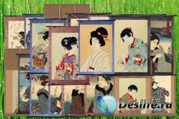 Клипарт Панно-свитки с портретами японских красавиц