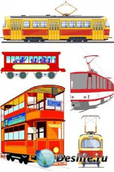 Железнодорожный транспорт: Трамвай (подборка векторных отрисовок)