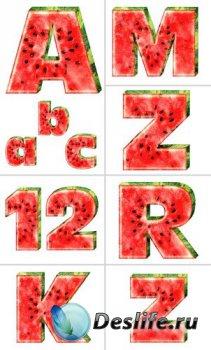 Алфавит (буквы в виде арбуза на прозрачном фоне)