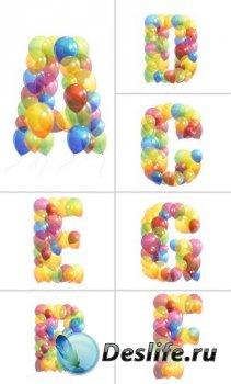 Алфавит (буквы в виде воздушных шаров на прозрачном фоне)