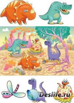 Веселые Динозавры (подборка векторных отрисовок)