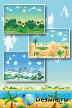 Пейзаж (векторные отрисовки тропики, зима)
