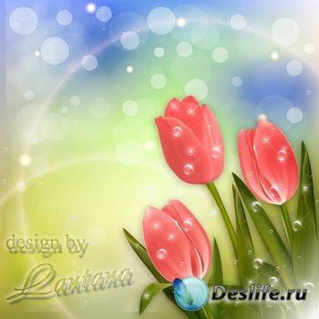 PSD исходник - Ах, эти первые тюльпаны, гонцы проснувшейся весны