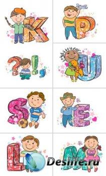 Алфавит (буквы и дети на прозрачном фоне)