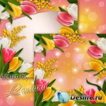 PSD исходник - Изящная мимоза и бодрые тюльпаны