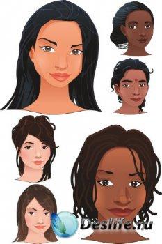 Лицо женщины (разные расы) вектор