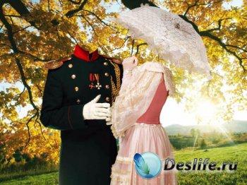 Парный костюм для фотошопа – Пара с зонтиком