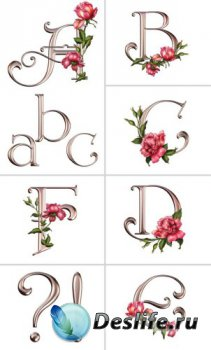 Алфавит (буквы с розами на прозрачном фоне)  №1
