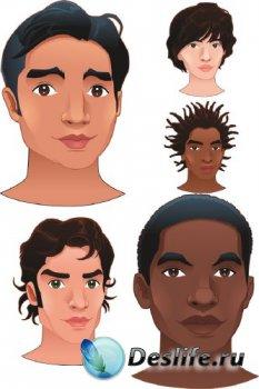 Лицо мужчины (разные расы) вектор