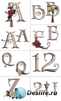 Алфавит (буквы с розами на прозрачном фоне)  №2