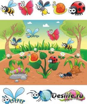 Веселые насекомые на поляне (векторные отрисовки)