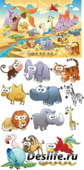 Веселые животные саванны (векторные отрисовки)