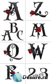 Алфавит (буквы с розами на прозрачном фоне)  №3