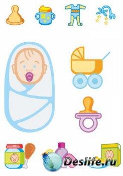 Детские объекты и вещи (подборка векторных отрисовок)