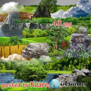 Png клипарт на прозрачном фоне - Море, поля, деревья, скалы и другие элемен ...