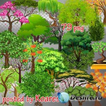 Png клипарт на прозрачном фоне - Нарисованные деревья