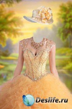 Костюм женский для фотошопа - Бальное платье золотое