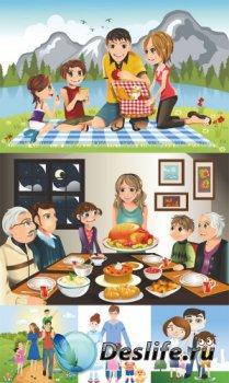 Счастливая семья (подборка векторных отрисовок)
