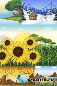 Времена года, сезоны (подборка векторных пейзажей)
