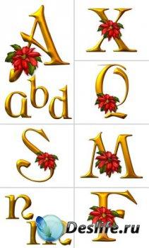 Алфавит (буквы с цветами на прозрачном фоне)  №1