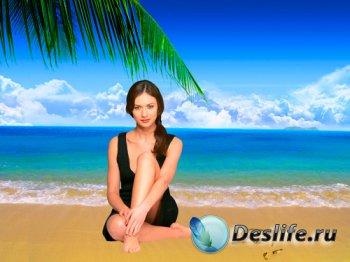 Шаблон для фотошопа - Красавица на пляже