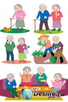 Дедушки и бабушки, пожилые люди, пенсионеры (подборка векторных отрисовок)