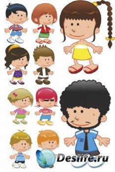 Дети в различных одеждах (вектор)