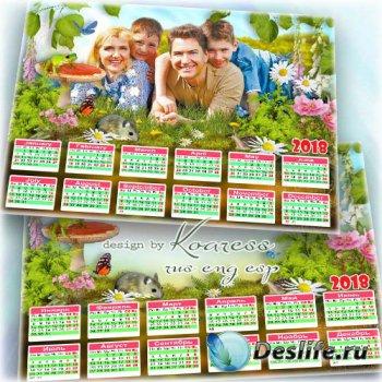 Семейный календарь-рамка для летних фото - Летний луг