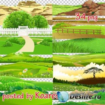 Png клипарт для дизайна - Нарисованые холмы, горы, поля и другие элементы п ...
