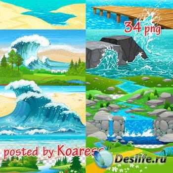 Png клипарт - Рисованые элементы пейзажа без фона (часть 2) - вода