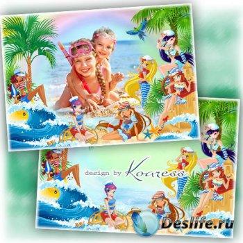 Летняя фоторамка для девочек - Морские каникулы с Винкс