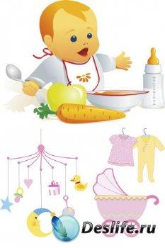 Грудной ребенок, детские вещи (подборка отрисовок)