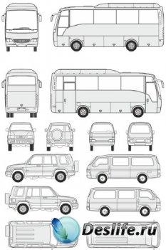 Автомобили Isuzu - векторные отрисовки в масштабе