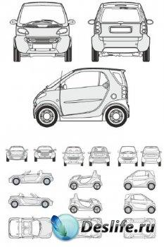 Автомобили Smart - векторные отрисовки в масштабе