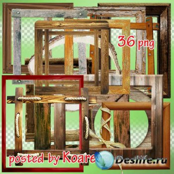 Png клипарт на прозрачном фоне - подборка деревянных рамок