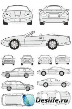 Автомобили Jaguar - векторные отрисовки в масштабе