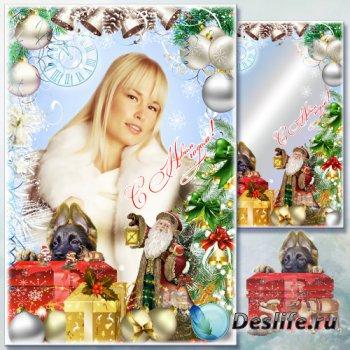 Рамка для фото - Серебром сверкает иней в новогодней сказке зимней