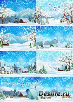 Растровые зимние фоны - Снежная зима