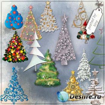 Клипарт - Разнообразные новогодние и зимние елки